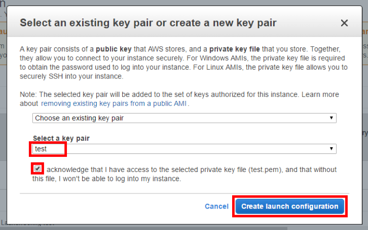 create the launch configuration