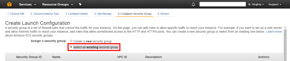 Select an existing security group