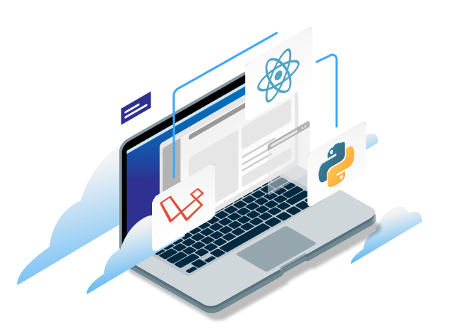 Software Development Banner with Technologies